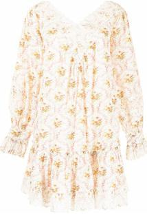 Bytimo Vestido Gola V Com Estampa Floral - Branco