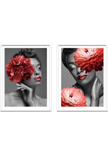 Quadro 67X100Cm Idália Mulher Com Flores Vermelha Nórdico Moldura Branca Com Vidro