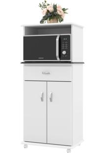 Armário De Cozinha 2 Portas 1 Gaveta 01670 Branco/Preto - Ej Móveis