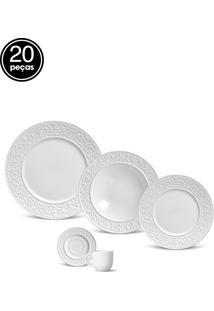 Aparelho De Jantar E Café Porto Brasil Baroque 20Pçs Branco