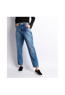 Calça Jeans Feminino Mom Com Rebite Lavagem Clara Jeans