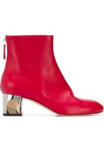 Alexander Mcqueen Ankle Boot De Couro - Vermelho