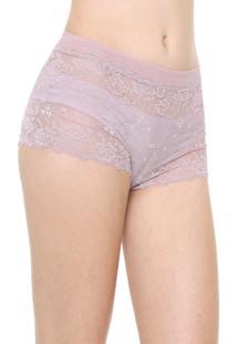 Calcinha Calvin Klein Underwear Caleçon Renda Lilás