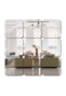 Espelho Decorativo Quadrado Em Acrílico 5 Quadrados 10X10 Cm