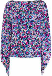 Karl Lagerfeld Blusa De Seda Com Estampa Floral - Azul