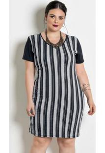 3b5a46939d ... Vestido Com Contrastes Plus Size Listrada Preta