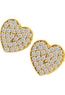 Brinco Pratamil Coração De Ouro Com Zircônia - Feminino-Ouro