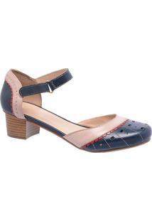 6f16b285e3 Privalia. Sapato Com Salto Feminino Couro Bico Arredondado Tradicional  Vazado Epos Publish Azul Marinho Nude Rubi Fivela Recorte ...
