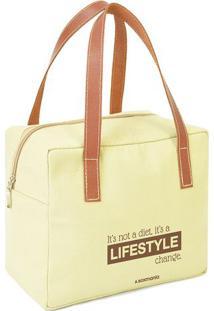 "Bolsa Térmica ""Lifestyle""- Amarelo Claro & Marrom Claro"