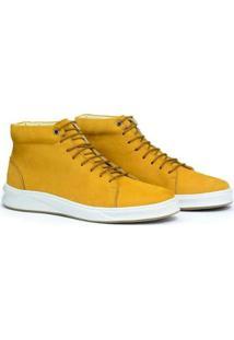 Tênis Sneaker Adolfo Turrion Couro Cano Médio Masculino - Masculino-Amarelo