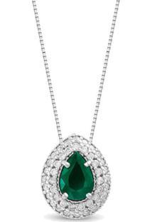 Pingente Ouro Branco Diamantes E Esmeralda 10 Mm