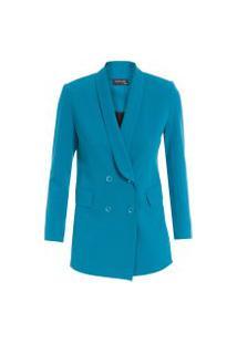 Blazer Feminino Gola Smoking - Azul