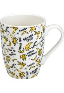 Caneca De Porcelana 330Ml Banana Time - Bon Gourmet - Branco