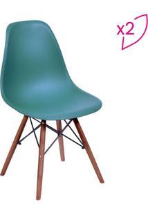 Jogo De Cadeiras Eames Dkr- Azul Petróleo & Madeira Escuor Design