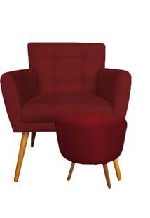 Combo Poltrona Decorativa Onix Mais Puff Redondo Suede Vermelho - Ds Móveis - Kanui