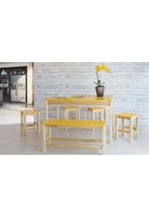 Sala De Jantar Gourmet De Madeira Maciça Taeda Natural Com Tampo Colorido Olga – Verniz Nózes/Amarelo 120X80X75Cm
