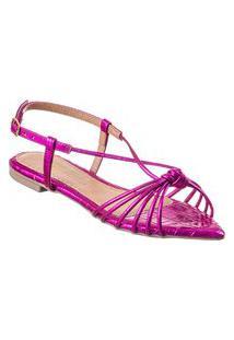 Sandália Rasteira Com Nó Via Birigui Bico Folha Croco Metalizado Pink