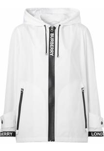 Burberry Jaqueta Com Capuz E Fita De Logo - Branco