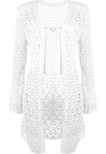 Conjunto Outlet Dri Top E Kimono Curto Tricô Branco