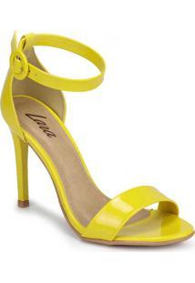 Sandália Salto Fino Lara Minimal Fivela Amarelo