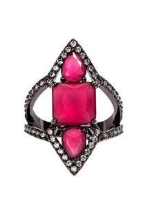 Anel Prin The Ring Boutique Pedras Cristais Vermelho Rubi Ródio Negro