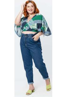 Blusa Cropped Plus Size Ampla Azul