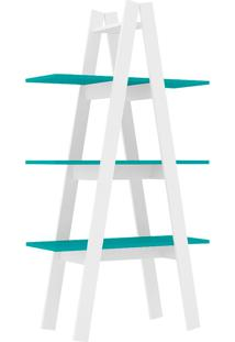 Estante Decorativa Escada Menor Rt 3047 Branco/Turquesa - Móvel Bento