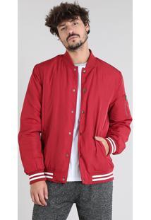 Jaqueta Masculina Bomber Com Bolsos Vermelha