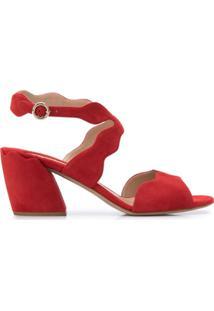 Chloé Sandália Com Detalhe Ondulado E Salto 60Mm - Vermelho