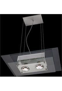Pendente Retangular Para 2 Lâmpadas Spacial Transparente