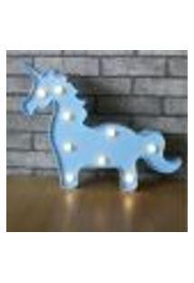 Luminária Led Abajur Luz Decoracão Modelo Cavalo Azul