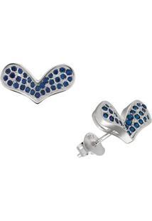 Brinco Coração Azul Em Prata 925 - Unissex-Prata