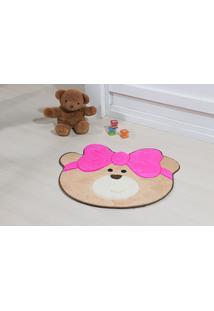 Tapete Antiderrapante Formato Ursinha Laco Pink 0,75X0,62 Guga Tapetes