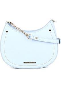 Bolsa Couro Jorge Bischoff Mini Bag Canoa Alça Corrente Feminina - Feminino-Azul Claro