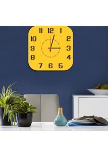 Relógio De Parede Decorativo Premium Quadrado Com Números Em Relevo Amarelo Médio