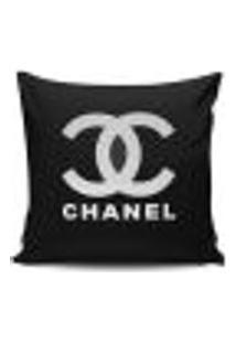 Almofadas Decorativas Cheias Estampadas Chanel Preto 43X43Cm