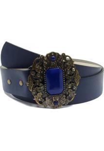 Cinto Vintage Lua Nova Fivela Decorada Azul