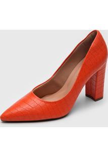 Scarpin Dafiti Shoes Croco Laranja - Laranja - Feminino - Sintã©Tico - Dafiti