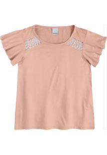 Blusa Rosa Claro Ampla Detalhe Em Renda Malwee