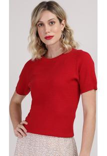Blusa De Tricô Feminina Manga Curta Decote Redondo Vermelha