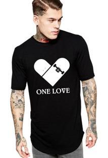 Camiseta Criativa Urbana Long Line Oversized One Love Skate - Masculino-Preto