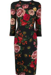Dolce & Gabbana Vestido Slim Com Estampa De Rosa - Preto