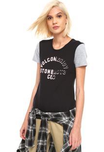 Camiseta Volcom Easy Babe Preta/Cinza