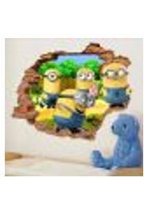 Adesivo De Parede Buraco Falso 3D Infantil Minions 2 - P 45X55Cm