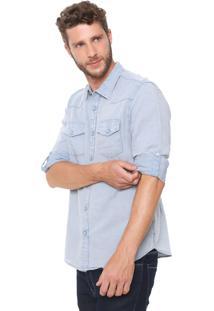 Camisa Linho Guess Slim Custom Azul