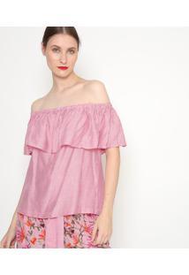 Blusa Ciganinha Listrado- Rosa & Branca- Ahaaha