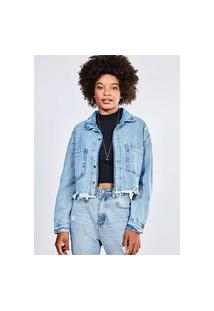Jaqueta Cropped Oversized Em Jeans Claro