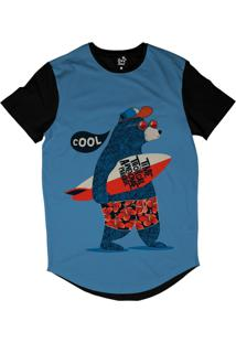 Camiseta Longline Long Beach Urso Prancha Sublimada Azul