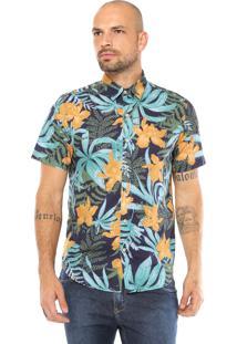 Camisa Krew Reta Tropical Azul-Marinho/Amarela