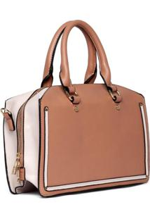 Bolsa Feminina Handbag Tiracolo Alã§A Dupla Fixa Moderna - Marrom - Feminino - Dafiti